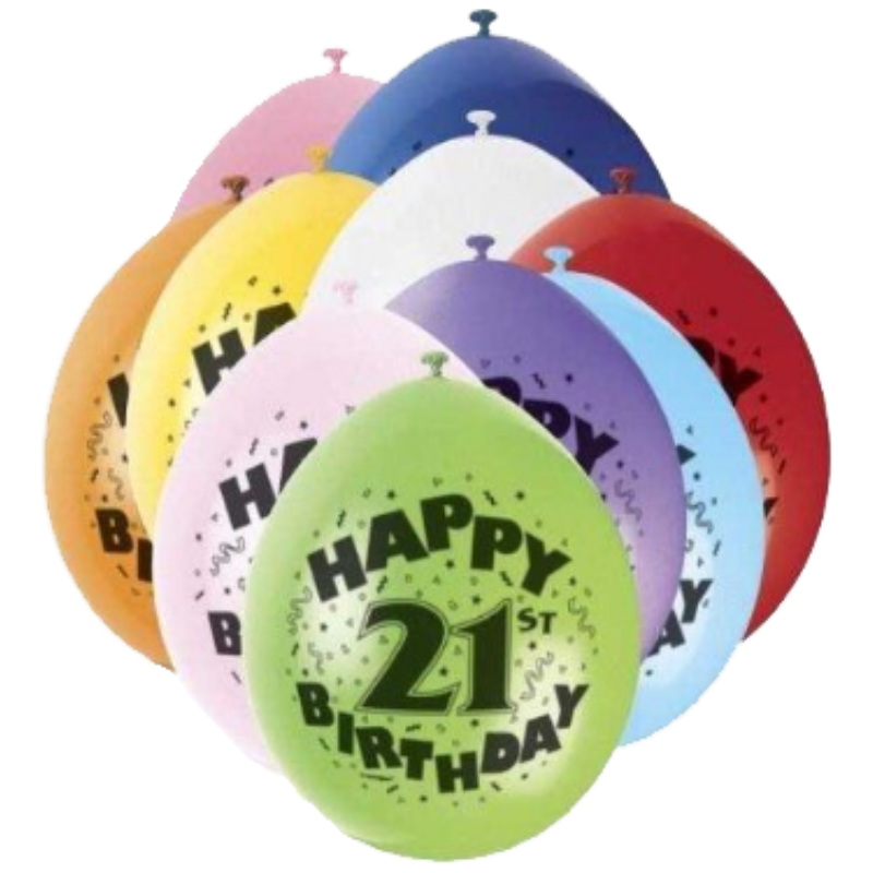 10 Pack Happy 21st Birthday Assorted Latex Balloons
