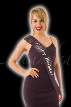 Black Diamante Happy Birthday Sash