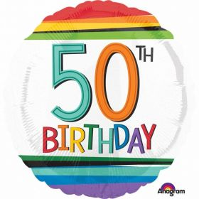 Rainbow Birthday 50th Standard Foil Balloons