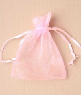 Small Pink Organza Wedding Favour Gift Bag