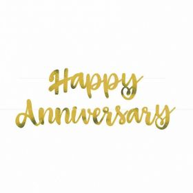 Gold Script Foil ''Happy Anniversary'' Banner, 6ft