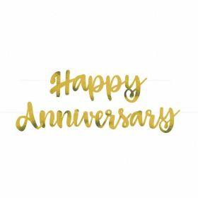 Gold Script Foil ''Happy Anniversary'' Banner, 6ft