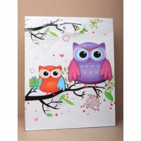 Glossy White Owl Gift Bag with white corded handles