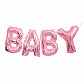 Pink 'Baby' Letter Foil Balloon Banner Kit 14''