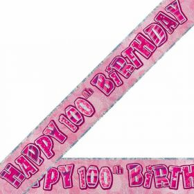 Pink Glitz 100th Birthday 12ft Prismatic Party Banner