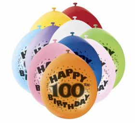100th Happy Birthday Latex Balloons 10pk