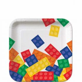 "Block Party 7"" Square Plates, pk8"
