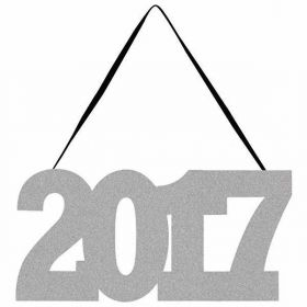 2017 Glitter Sign with Ribbon Hanger