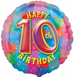 Happy 10th Birthday Circle Foil Balloon