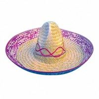 Multicoloured Straw Sombrero Hat
