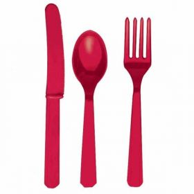 Apple Red Re-usable Plastic Cutlery, Assorted 24 pack