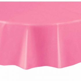 Value Hot Pink Round Plastic Tablecover