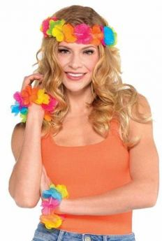 Hawaiian Head Wreath & Wristlets pk3