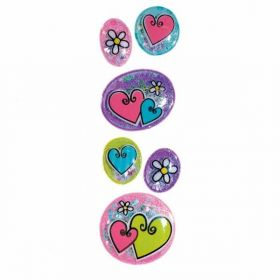 Hearts & Flowers Bubble Stickers