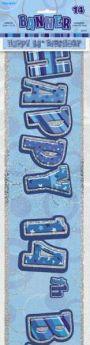 Blue Glitz Age 14 Prismatic Foil Banner 3.6m