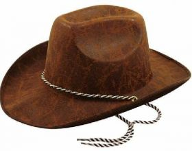Adult Cowboy Leather Look Brown Hat
