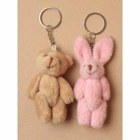 Teddy Bear and Rabbit Keyring