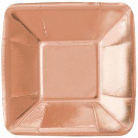 Rose Gold Foil Square Paper Appetiser Plates 12cm, pk8
