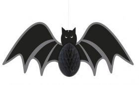 Hanging Honeycomb Bat Halloween Decoration