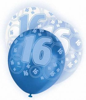 Blue Glitz 16 All Over Print Party Balloons 6pk