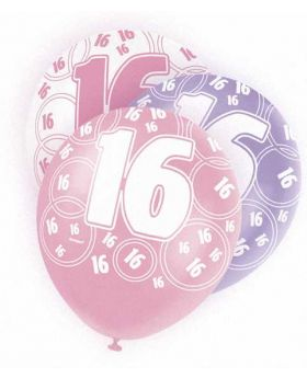 Pink Glitz 16 All Over Print Party Balloons 6pk