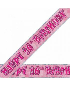 Pink Glitz 16 Prismatic 9ft Party Banner