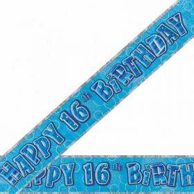 Blue Glitz 16 Prismatic 12ft Party Banner
