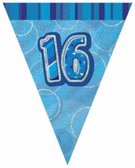 Blue Glitz 16 Party Flag Banner 9ft