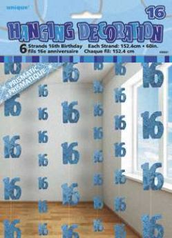 Blue Glitz 16 Hanging String Party Decoration (6 Strings)