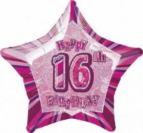 Pink Glitz Star 16 Foil Party Balloon