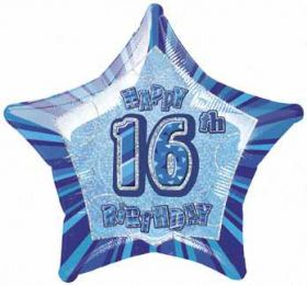 Blue Glitz Star 16 Foil Party Balloon