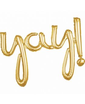 """Yay!"" Script Phrase Gold Foil Balloon"