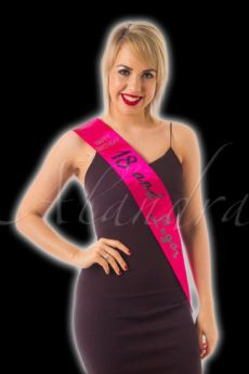Hot Pink Satin and Diamante 18th Birthday Sash