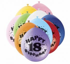 18th Happy Birthday Latex Balloons 10pk