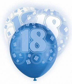 Blue Glitz 18 All Over Print Party Balloons 6pk