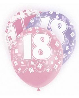 Pink Glitz 18 All Over Print Party Balloons 6pk