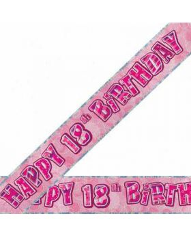 Pink Glitz 18 Prismatic 9ft Party Banner