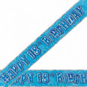 Blue Glitz 18 Prismatic 9ft Party Banner