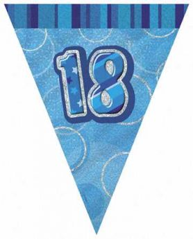 Blue Glitz 18 Party Flag Banner 9ft