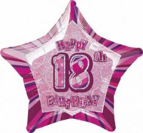 Pink Glitz Star 18 Foil Party Balloon
