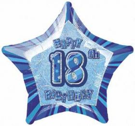 Blue Glitz Star 18 Foil Party Balloon
