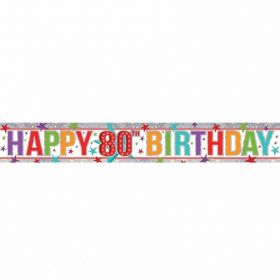 Multi Colour 80th Birthday Holographic Foil Banner 2.7m