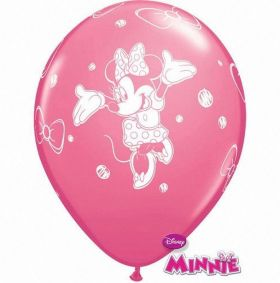 Minnie Mouse Latex Balloons, helium quality, pk6 12 ins
