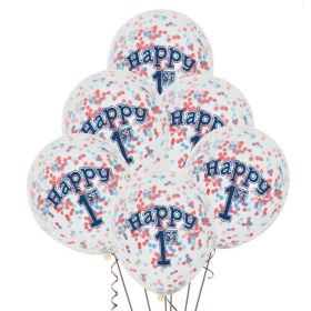 Nautical 1st Birthday Balloons with Confetti pk6