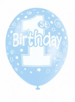 1st Birthday Blue Helium Quality Pearlised Balloons, pk5