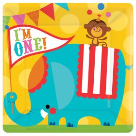 """1st Birthday Circus 10"""" Square Serving Paper Plates, 8pk"""