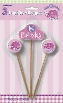 1st Birthday Ladybug Party Candles 3pk