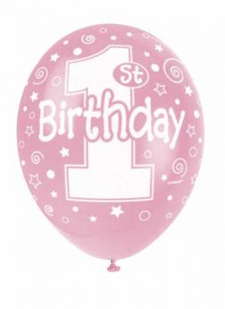 1st Birthday Helium Quality Pink Pearlised Balloons, pk5