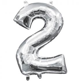 "Number 2 Silver Minishape Air Fill Foil Balloon 16"""