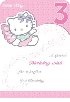 Hello Kitty Age 3 Birthday Card